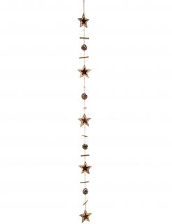 Natürliche Sternen-Girlande mit Pinienzapfen Weihnachtsdeko braun 125 cm