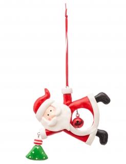Weihnachtsmann-Hängedeko Weihnachten weiss-rot 10 cm