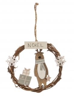 Rentier-Türkranz aus Holz Weihnachtsdekoration braun-weiss