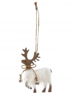 Rentier-Hängedeko für den Weihnachtsbaum braun-weiss 11 cm
