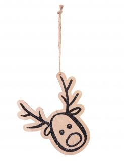 Rentier-Christbaumdeko zum Aufhängen mit Pailletten Weihnachten braun 14 cm