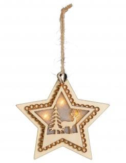 Leuchtender Holz-Stern LED 10 cm Weihnachtsdeko
