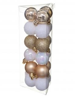 Kleine Weihnachtskugeln Dekoset 18 Stück weiß-goldfarben 3 cm