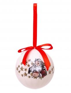 Weihnachtskugel mit Weihnachtsmann und Sternen bunt 7,5 cm