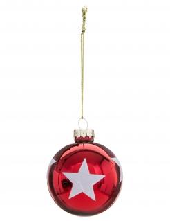 Weihnachtskugel mit Sternen rot-weiß 6 cm