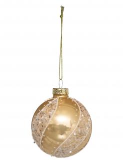 Wunderschöne Weihnachtskugel mit Pailletten goldfarben 7 cm
