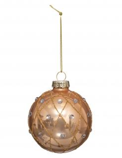 Weihnachtskugel mit Rautenmuster und Schmucksteinen goldfarben 7 cm