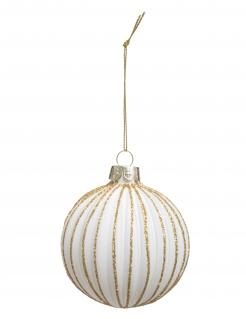 Gestreifte Weihnachtskugel weiß-goldfarben 7 cm