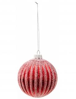 Glitzernde Christkugel gestreift rot-weiß 8 cm