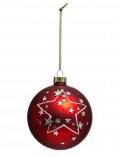 Weihnachtsbaum-Kugel mit Sternen rot-silber 8 cm