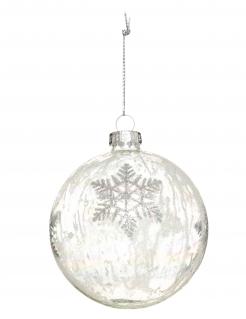 Weihnachtskugel mit Schneeflocken weiß 8 cm
