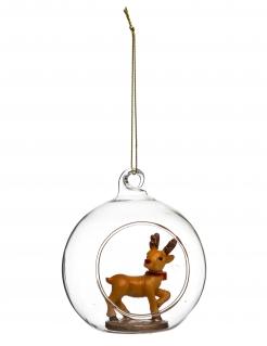 Gläserne Weihnachtskugel mit Rentier transparent-braun 8 cm