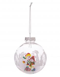 Transparente Weihnachtskugel mit Schneeflocken und Schneemännern bunt 8 cm