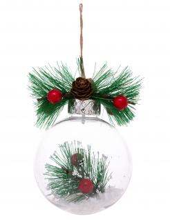 Weihnachtskugel Stechpalme Tanne bunt 8 cm