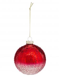 Weihnachtskugel mit Frost-Effekt rot-weiß 6 cm