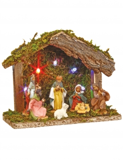 Weihnachtliche Krippe mit sieben Krippenfiguren 5 LEDs Weihnachtsdeko bunt 13,5 cm