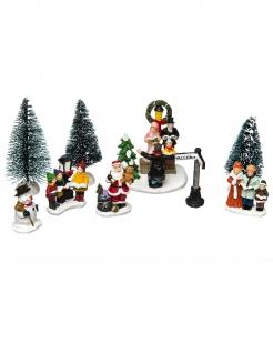 Festliches Weihnachtsdorf Tischdeko 8-teilig bunt