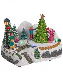 Weihnachtsdorf-Dekoration mit Weihnachtsbäumen bunt 18x12x13 cm