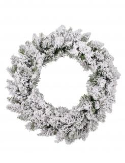 Verschneiter Weihnachts-Türkranz grün-weiß 40 cm