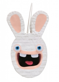 Raving Rabbids™-Piñata Kindergeburtstag-Deko weiss-rosa 33 cm