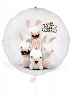 Raving Rabbids™-Luftballon Partydeko weiss-rosa 40 cm