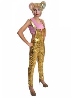 Harley Quinn™-Kostüm für Damen mit Perücke Halloweenkostüm gold-rosa