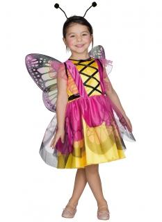 Fröhliches Schmetterlings-Kostüm für Mädchen rosa-gelb-schwarz