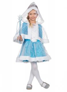 Hübsche Schneeprinzessin Kinderkostüm blau-weiß