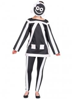 Lustiges Strichmännchen-Kostüm für Damen schwarz-weiß