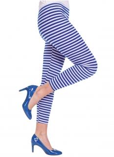 Streifen-Leggins weiss-blau Karneval