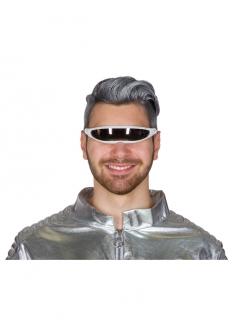 Futuristische Brille silber-schwarz Weltall