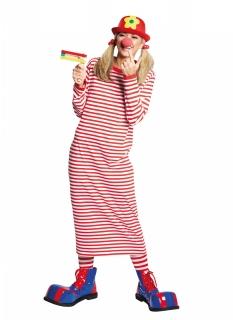 Langes Clownskleid geringelt für Damen rot-weiß