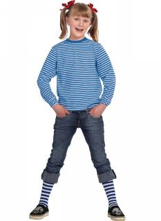 Langärmeliges Streifenshirt für Kinder blau-weiß