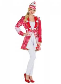 Narrenjacke Patchwork für Damen Karneval rot-weiß