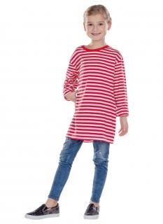 Langärmeliges Ringelshirt für Kinder rot-weiß