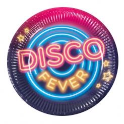Kultige Disco Fever-Partyteller 6 Stück bunt 23 cm