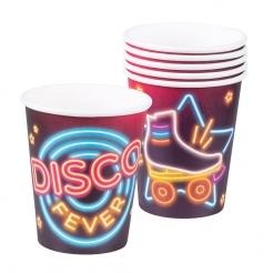Kultige Disco Fever-Pappbecher 70er-Partydeko 6 Stück bunt 250 ml