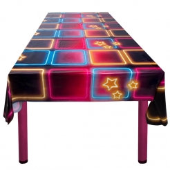 70er-Jahre Party-Tischdecke Disco bunt 180 x 130 cm