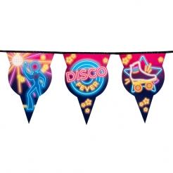 Coole Disco-Fever Wimpelgirlande Retro-Partydeko bunt 6 m