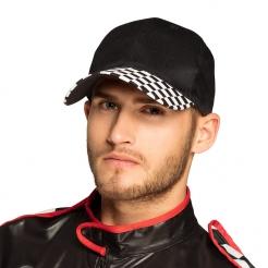 Rennfahrer-Mütze für Erwachsene schwarz-weiß