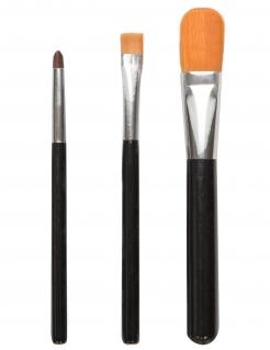 Pinsel-Set Make-up Zubehör 3-teilig schwarz-silberfarben