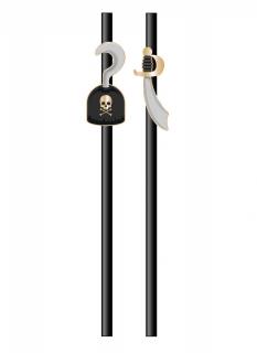 Piraten-Strohhalme aus Pappkarton 10 Stück schwarz-grau-goldfarben 20 cm
