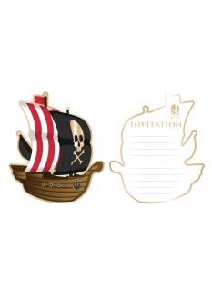 Piratenabenteuer-Einladungskarten 8 Stück bunt 10 x 12 cm