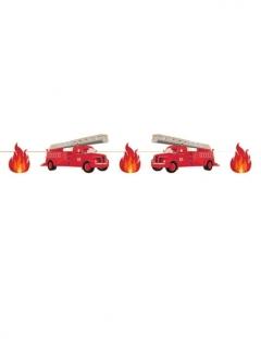 Feuerwehr-Girlande Kinderparty-Raumdeko rot-schwarz 3 m