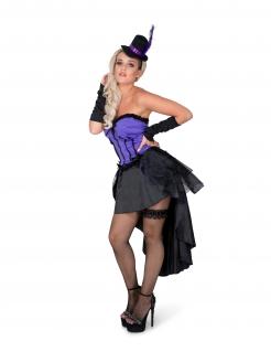 Burlesque-Kostüm sexy Karneval-Kostüm für Damen schwarz-lila
