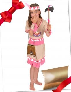 Indianer-Mädchenkostüm Geschenkset braun-rosa