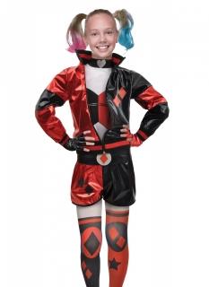 Offizielles Harley Quinn™-Kostüm für Mädchen rot-schwarz-weiß