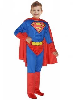 Superstarkes Superman™-Kostüm für Jungen mit Muskeln rot-blau-gelb