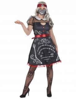 Unheimliche Wahrsagerin Damenkostüm für Halloween schwarz-weiß-rot