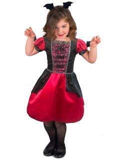Elegante Vampirgräfin Mädchenkostüm für Halloween schwarz-rot